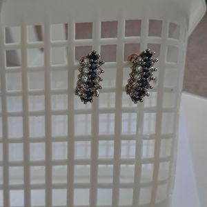 Cluster blue and crystal earrings